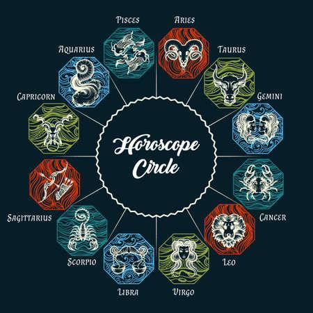 Zodiac circle with horoscope signs. Astrological symbols: Aries; Taurus; Gemini; Cancer; Leo; Virgo; Libra; Scorpio; Sagittarius; Capricorn; Aquarius and Pisces. Vector Illustration. Stock Vector - 121782639