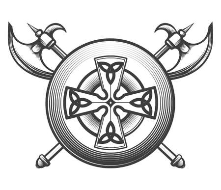 Two crossed battle axes, and shield with celtic friost. Vector illustration