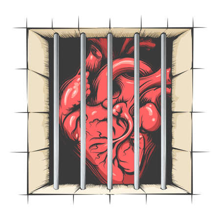 Heart in jail drawn in tattoo style. Vector illustration Illustration