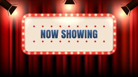 Marco de teatro o cine con bombillas en cortina roja con focos y texto que se muestra ahora. Ilustración vectorial.