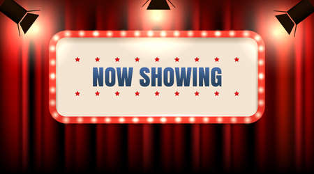Theater or cinema frame with light bulbs on red curtain with spot lights and Wording Now Showing. Vector illustration.
