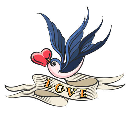 Heart in a beak of Swallow with wording LOVE on ribbon. Old school style tattoo. Vector Illustration. Иллюстрация