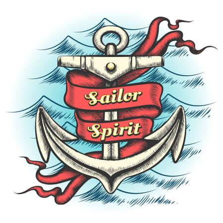 Old vintage anchor and ribbon with wording Sailor spirit on ocean waves pattern drawn in tattoo style. Vector illustration.