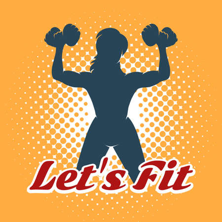 Silhouette of athletic woman with dumbbell and Slogan Lets Fit. Fitness Club Emblem in retro style on half tone background. Vector illustration. Illustration