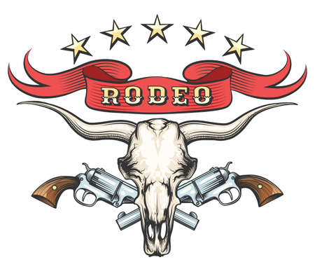 Bull skull with pair of revolvers and ribbon with wording Rodeo drawn in tattoo style. Vector illustration