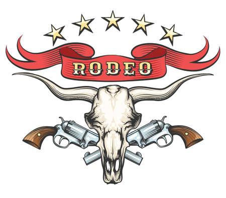 Crâne de taureau avec paire de revolvers et ruban avec libellé Rodeo dessiné en style tatouage. Illustration vectorielle