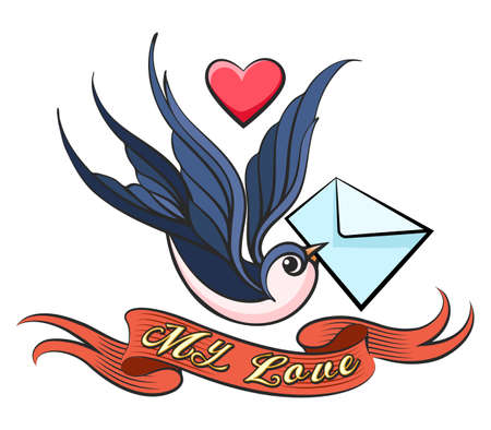 Swallow with love Letter in a beak and ribbon with wording My Love drawn in Tattoo style. Vector illustration.