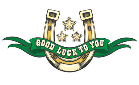 Golden horseshoe with green ribbon, stars and text Good Luck To You. Vector illustration.