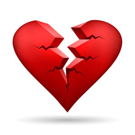 Corazón roto aislado en blanco. Ilustración de vector.