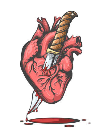 Bleeding Human Heart Pierced by Knife drawn in tattoo style. Vector illustration.