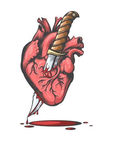 Corazón humano sangrante perforado por un cuchillo dibujado en estilo tatuaje. Ilustración vectorial.