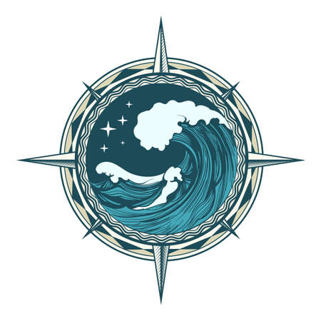 Wind Rose nautical compass with ocean wave and stars inside drawn in tattoo style. Vector illustration. Illustration