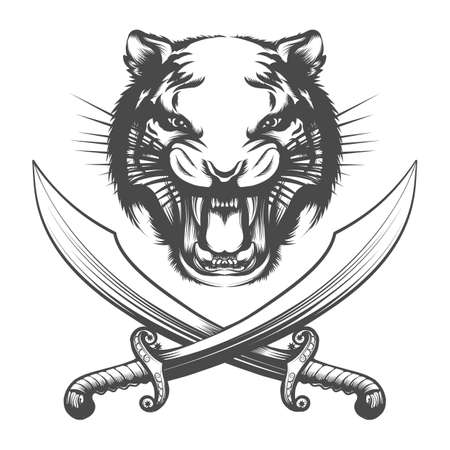 Face of Tiger and two Arabian swords isolated on white background. Vector illustration.