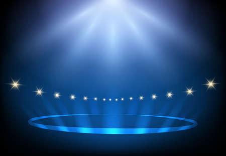 Luces de escenario de actuación de Blue Night. Ilustración vectorial.