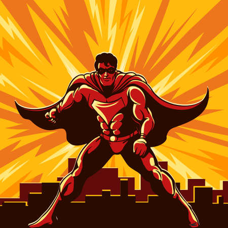 Superhéroe vigilando la ciudad dibujada en estilo cartel retro. Ilustración vectorial.