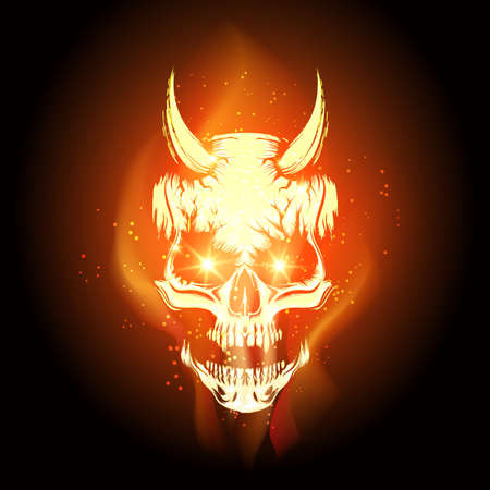 Burning skull in Hell flame on black background. Vector illustration