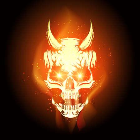 Cráneo ardiente en la llama del infierno sobre fondo negro. Ilustración vectorial