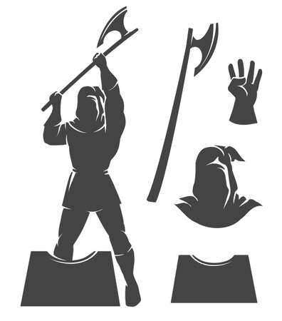 The executioner Silhouettte emblem on a white background. Axe, block, glove and Punisher Hood. Vector illustration