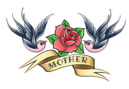 Retro Tattoo with two swallows, rose flower and hand drawn wording Mother on the ribbon. Vector illustration.