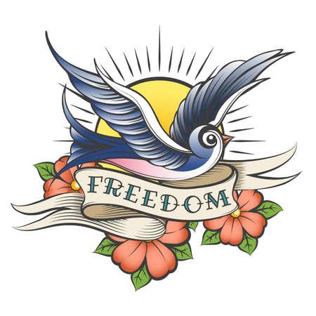 Flying Bird contra el sol, las flores y la cinta con la redacción Freedom dibujada en estilo tatuaje. Ilustración de vector. Ilustración de vector