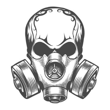 Cráneo humano en máscara de gas. Emblema de toxicidad dibujado a mano. Ilustración de vector.