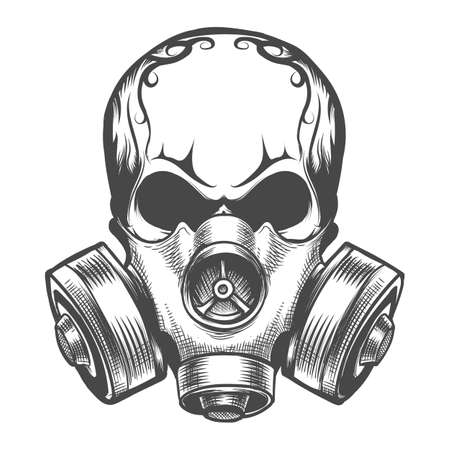 Human skull in gas mask. Hand drawn Toxicity emblem. Vector illustration.