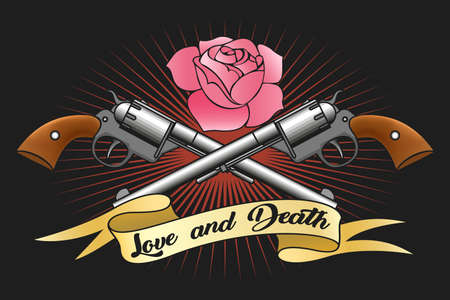 Two big old revolvers, pink rose and ribbon with lettering love and death. Vector illustration. 일러스트