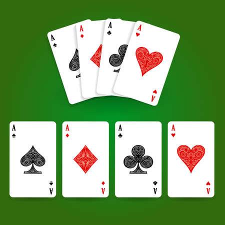 Conjunto de cuatro palos de naipes de ases. Mano de póquer ganadora. Ilustración vectorial.