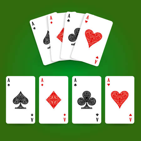 Set of four aces playing cards suits. Winning poker hand. Vector illustration.