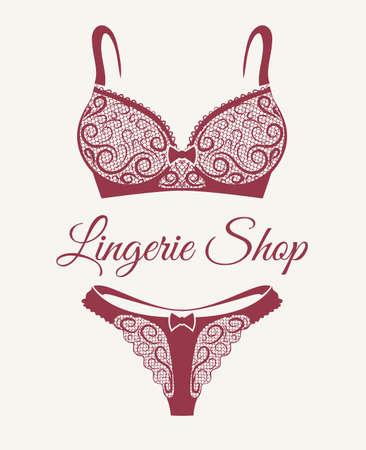 Emblema del negozio di lingerie con reggiseno in pizzo e pantaloni disegnati in stile retrò. Illustrazione vettoriale