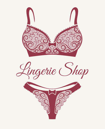 Lingerie shop emblem with lace bra and pants drawn in retro style. Vector illustration Иллюстрация
