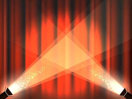 Roter Vorhang der Theater- oder Kinobühne mit Scheinwerfern. Hintergrund mit leerem Platz für Ihre Nachricht. Vektor-Illustration.