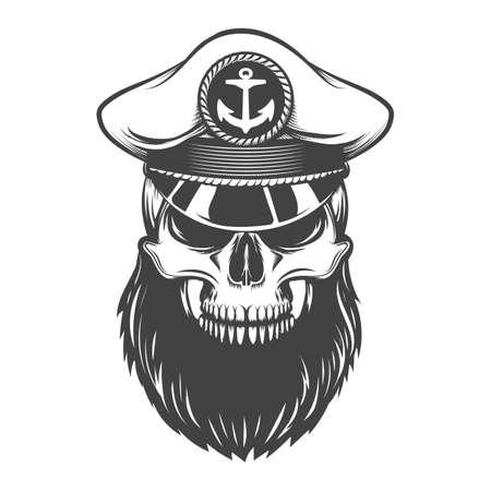 Bearded skull in sea captain hat. Vector illustration. 向量圖像