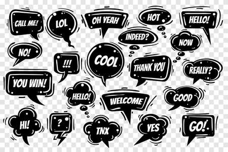Speech bubbles set on transparent background. Various shapes with wording Hi, lol, ok, love, yes, no, bye, cool etc. Vector illustration.