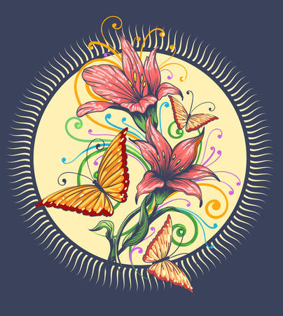 Orchid flowers and butterflies on a yellow sun shape frame. Vector illustration. Archivio Fotografico - 124151466