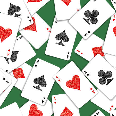 Aces Playing Cards on Green green Casino Table seamless Pattern. Vector illustration.