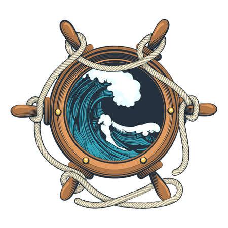 Volante nautico con corde e onda oceanica all'interno disegnata in stile tatuaggio. Illustrazione vettoriale