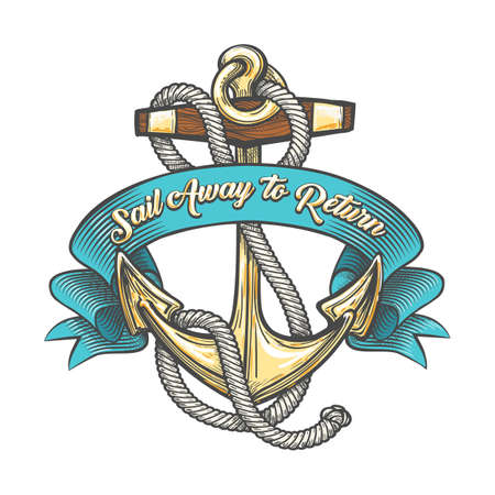 Anchor in marine ropes and ribbon with wording Sail away to Return. Vector illustration.