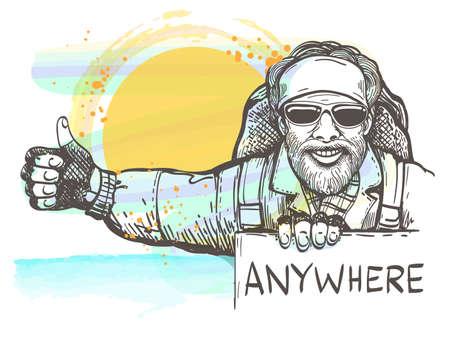 Autostop człowiek z rysowane w stylu szkicu. Koncepcja podróży autostopem. Ilustracja wektorowa.