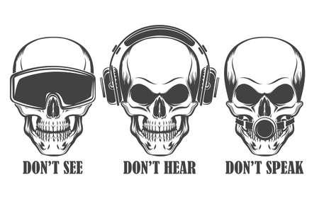 """Ludzkie czaszki w słuchawkach, zestaw wirtualnej rzeczywistości i knebel kulkowy z napisem """"Nie patrz, słuchaj, mów"""". Ilustracja wektorowa."""