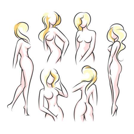 Sechs weibliche Körperumriss-Silhouetten. Frauenkörperschönheitsskizze, Zahlen. Vektor-Illustration. Vektorgrafik