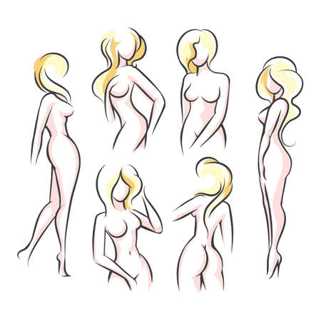 Six Female body outline silhouettes. Woman body beauty sketch, sexy figures. Vector Illustration. Vettoriali
