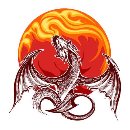 Drago sputafuoco volante su sfondo di fiamma. Illustrazione vettoriale.