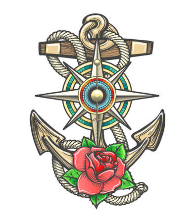Old ship Anchor in ropes with Compass Windrose and Rose Flower. Vector illustration.