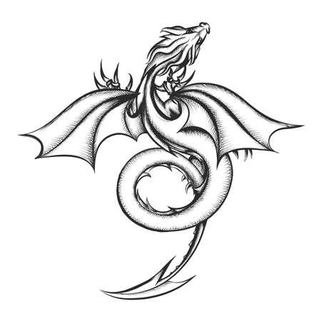 Dragón dibujado en estilo grabado inspirado en los libros de George Martin. Ilustración de vector.