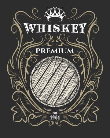 Hand drawn Premium Whiskey label with wooden barrel and crown. American Whiskey label, badge, sticker, print for t-shirt. Vector illustration. Иллюстрация