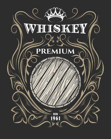 Ręcznie rysowane etykiety premium whisky z drewnianą beczką i koroną. Etykieta American Whisky, znaczek, naklejka, nadruk na t-shirt. Ilustracja wektorowa.