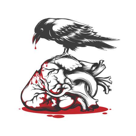 Black Raven Biting Bleeding Heart. Love Hurts Concept Tattoo. Vector illustration.