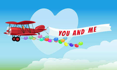 Flying Red Airplane with poster You and Me and Festive Helium Balloons. Vector illustration.