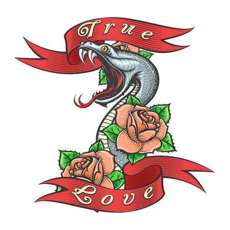 Snake in Rose flowers and lettering True love drawn in Old school Tattoo Style. Vector illustration.